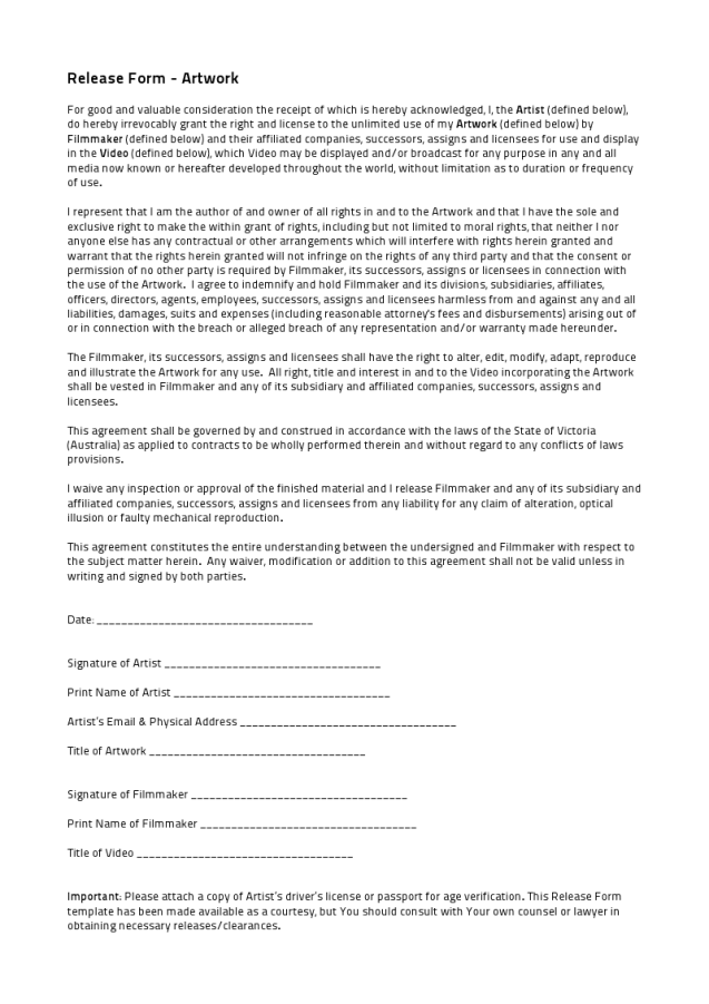 Artist release forms mirimstudent41 for Artist press release template